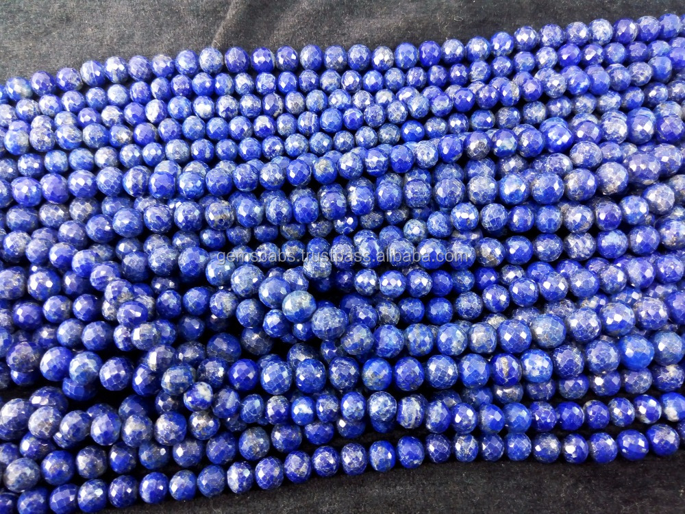 faceted lapis lazuli round beads necklace jewelry