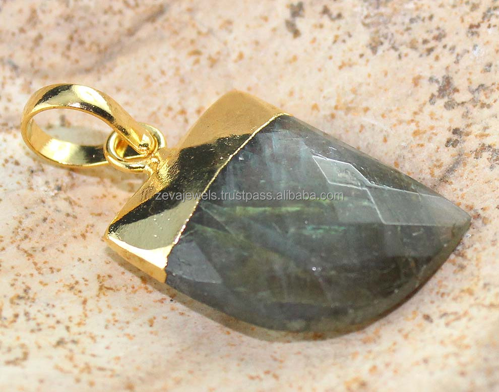 Rainbow Fired Black Labradorite 24k Gold Plated Gemstone Tigers Nail Pendant