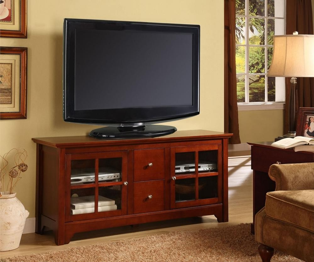 55 Inch Mahogany Contemporary Flat Screen TV Stands