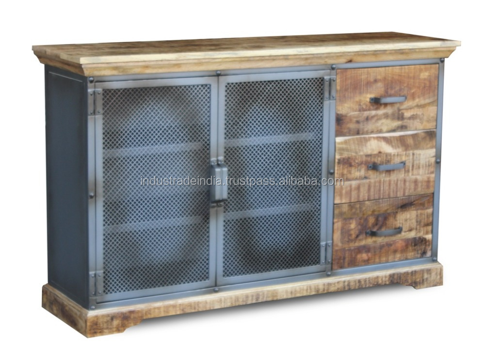Metal and wooden Industrial three draw and one jali door sideboard
