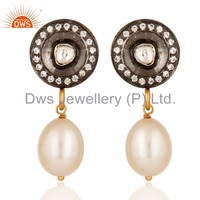 Natural Pearl & Crystal Quartz Cz Gemstone Earring Wholesale Gold Plated 925 Silver Victorian Earrings Jewelry Manufacturer