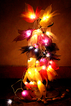 bodhi leaf string lights flower lights home decoration thai handmade - Flower Christmas Lights