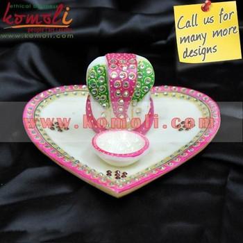 Pink kundan marble heart shape ganesha pooja thali and decorative pink kundan marble heart shape ganesha pooja thali and decorative trays for indian wedding favor junglespirit Choice Image