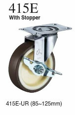 Precision urethane wheel caster for move car with a gyration hardware stopper