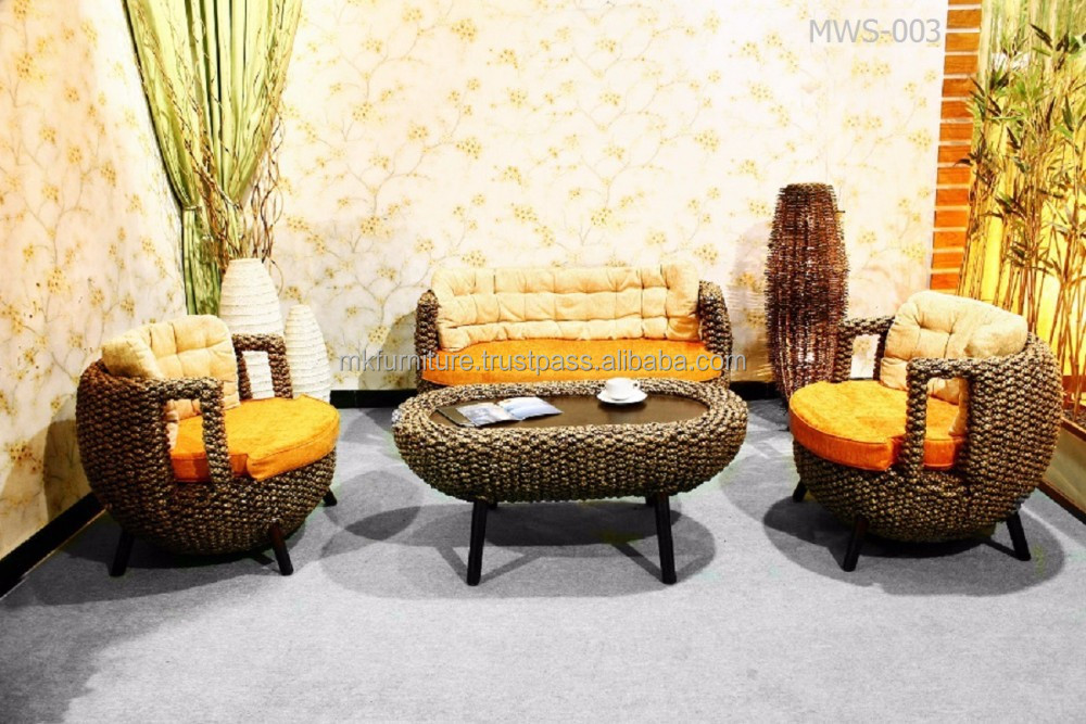 Sala de estar de lujo muebles de mimbre rattan muebles de - Sofas de mimbre ...