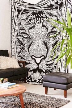 Indian Tiger Black And White Mandala Tapestry Hippie Bohemian Queen