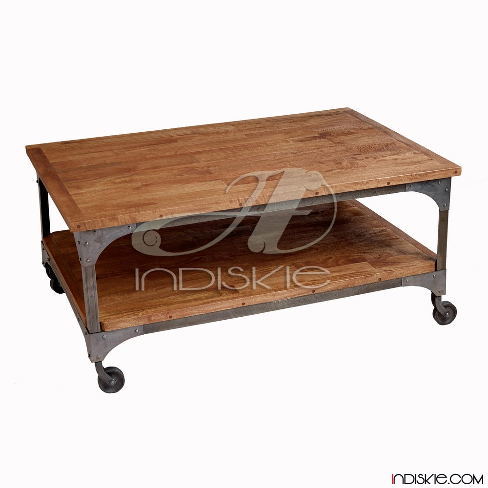 Vintage Industrial Furniture Iron Wood Coffee Table With Wheel, Vintage Movable Coffee Table, Living Room Wood Iron Coffee Table