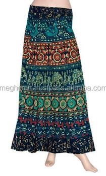 66366a7f51 Wholesale Long Cotton Wrap Skirt-Floral Print Wrap Around Dress - Hippie  Clothing - Bohemian