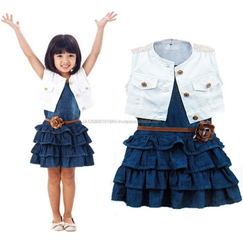 90ee5bea94d6 children kids jeans skirt with white cotton blouse for baby girls dress