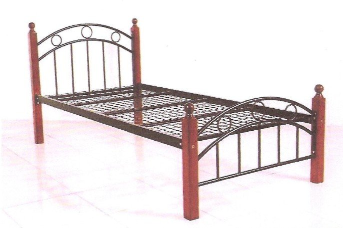 Metal Single Bed With Wooden Legs