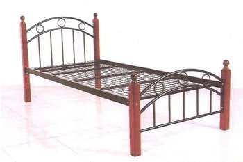 Cheap Metal Single Bed With Wooden Legs