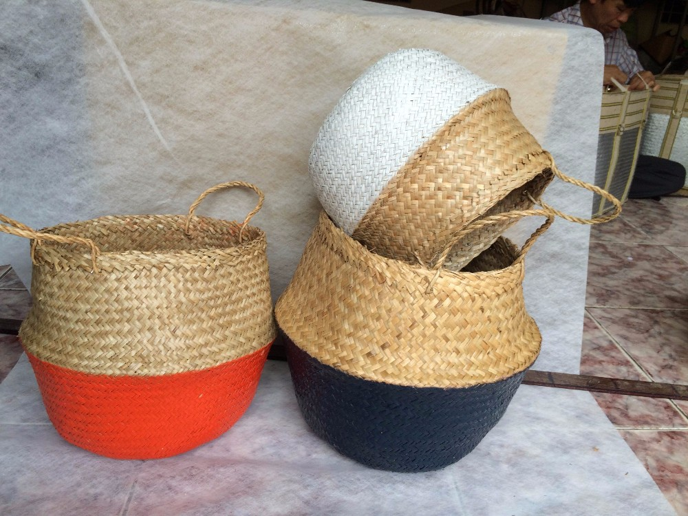 Best Selling Handmade Natural Seagrass Belly Basket With Pompoms ...