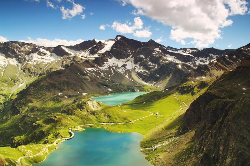 Canvas Prints Stretched Framed Fine Art Giclee Artwork For Wall <font><b>Decor</b></font> Idyllic Lakes Italy Ceresole Reale Aerial <font><b>Italian</b></font>