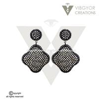 black pave diamond 14k gold 925 sterling silver earrings jewelry earrings