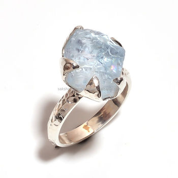Raw Rough Genuine Natural Sky Blue Aquamarine Gemstone 925 ...