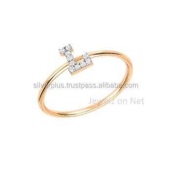 14k Gold Diamond Initial Alphabet Letter L Ring Buy 14k Gold
