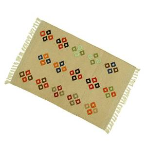 "Indian Floor Runner Beige Embroidered Cotton Jute Hand Woven Rug Carpet Mat 38"" X 25"" RUG1002A"