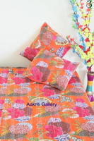 Fruit Print Twin Kantha Bedspread quilt and pillowcase Throw Indian Orange Color