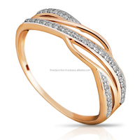 14K Rose Gold Ring With Diamonds Modern Design Jewelry Gold Models High Quality Thailand Gold Jewelry Wedding Engagement Ring