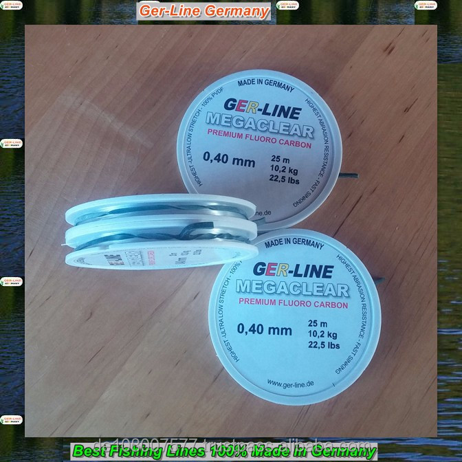 GER-LINE 25M clear 0.45-0.50mm fluoro carbon fishing lines 100% made in Germany Strong and smooth