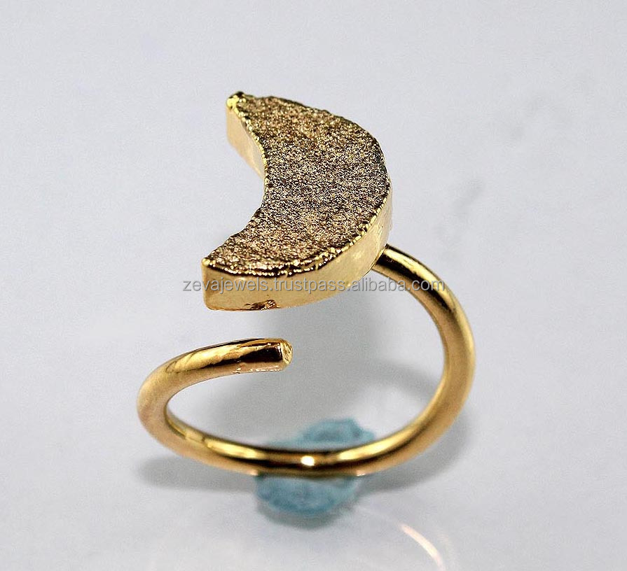 Stylish Shining Pyrite Druzy 24k Gold Plated Adjustable Gemstone Ring, Jewelry Wholesale