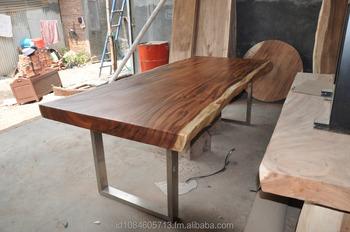 live edge dining table slab acacia wood slab natural grain stainless crome legs buy wood. Black Bedroom Furniture Sets. Home Design Ideas
