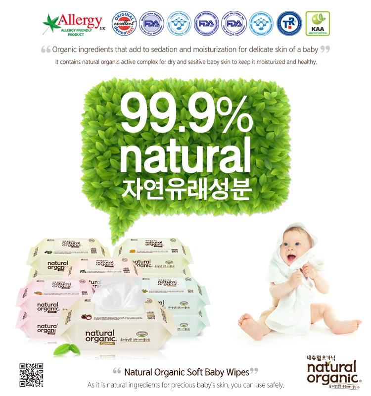 Natural Organic Baby Wipes Premium Embossing Refill Type