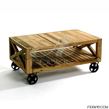 Good Quality Tea Table Excellence Coffee Tables With Wheels Vintage Reclaimed Wood
