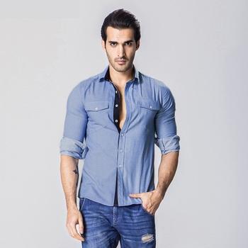 2017 denim shirts - Light Blue Denim Shirt Men 100% Cotton Thick Male Denim  Shirt 16d0461c9