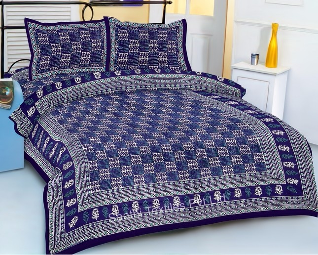 Hand Printed Cotton Bed Sheets King Size With Pillow Covers Buy
