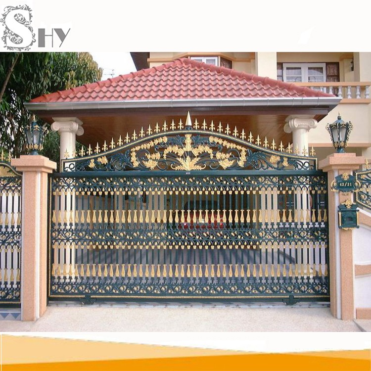 Simple sliding entrance wrought iron main gate design for for Simple gate designs for homes