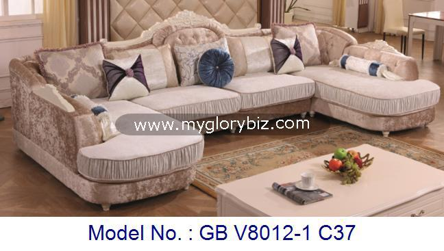 L Shape Corner Sofa Set For Living Room As Luxury Home Furniture In Fabric And Wooden
