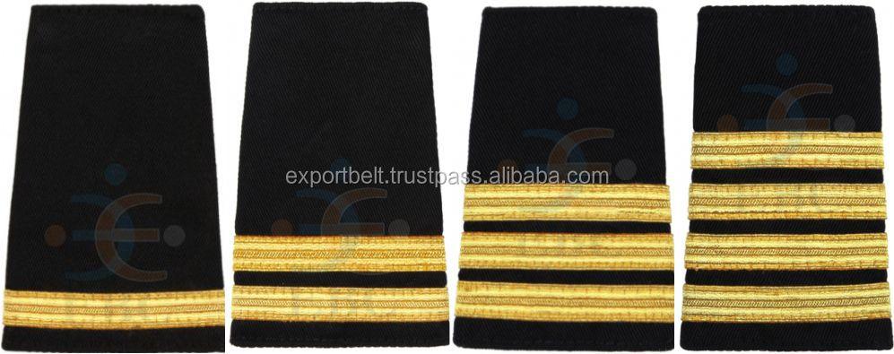 Epaulet Pilot Epaulette Sliders 2 Gold Bars Captain on Black Cloth