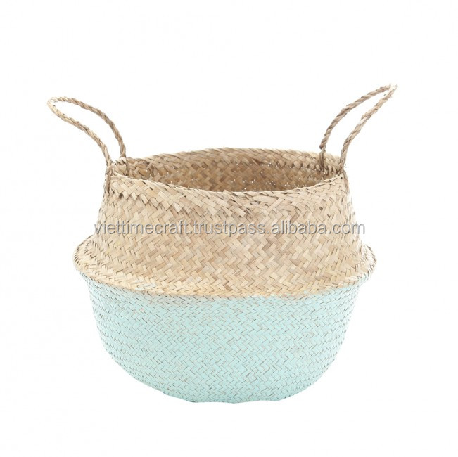 Pom-pom Seagrass Belly Basket,Seagrass Rice Basket,Foldable ...