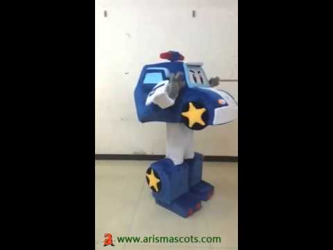 Adult Fancy Dress Cartoon Character Mascot Costume Tash Toys Robocar Poli  suit