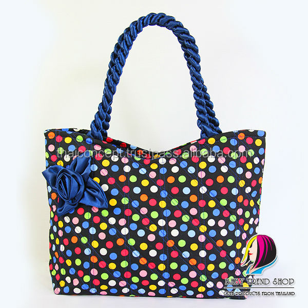 Handbags Colorful Polka Dot Tote Bags With Front Rose Ribbon And Twisted Fabric Handle