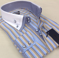 Double collar designer men's shirts with original square buttons
