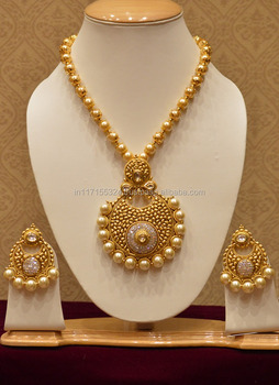 Luxurious Big Pearls And Diamond Necklace Set Temple