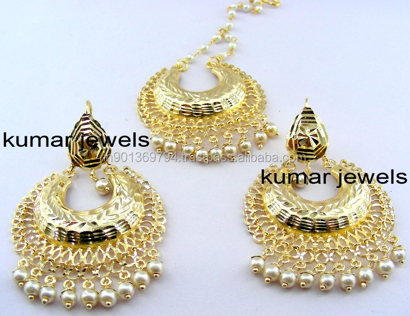 Traditional Gold Plated Earrings Maang Tikka - Buy Indian Maang ...