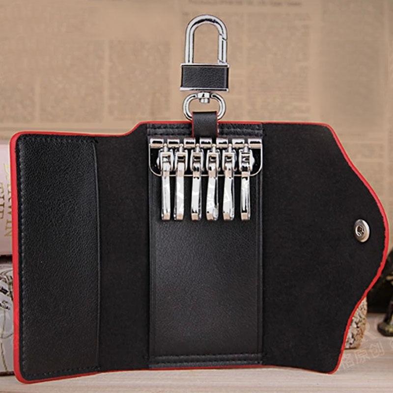 Leather Key Chain Pouch Bag Case Holder Wallets Men Women Orange