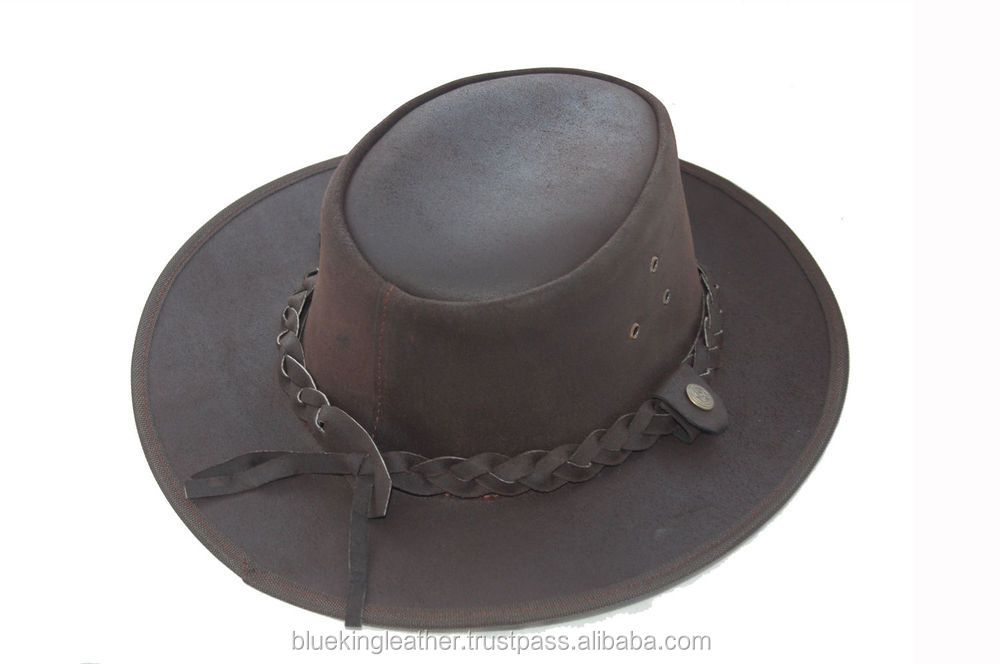 Light Dark Brown Australian Style Leather Bush Hat Cowboy Hat Dark Brown 548b56fa3cb