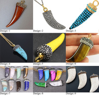 Wholesale Bone Shape Crystal Horn Pendant