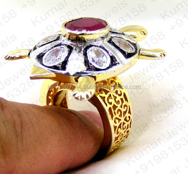 Classy Big Fancy Cubic Zircon Stone Studded Filigree Work Gold Plated Black Rhodium Coated Antique Art Finger Cocktail Ring