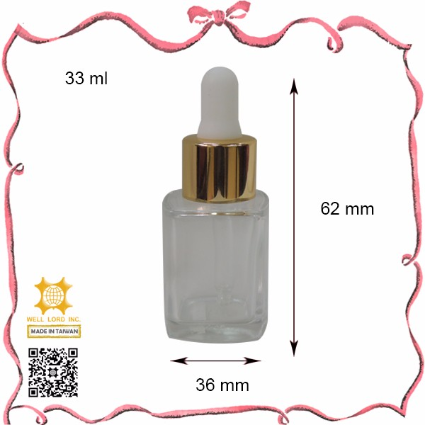 33ml high hed empty thick wall glass bottle essential oil dropper