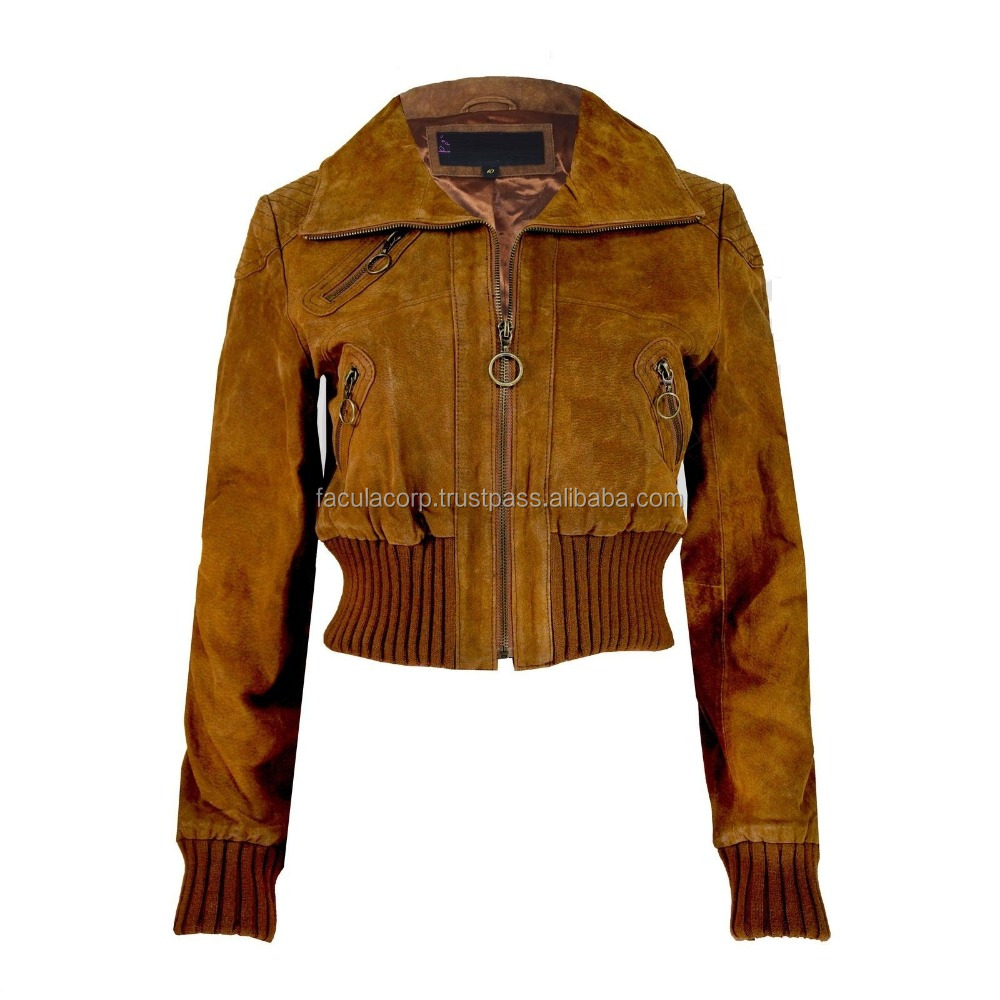NEW SUEDE BROWN LEATHER CROPPED JACKET BIKER WOMENS LADIES COAT FC-7882