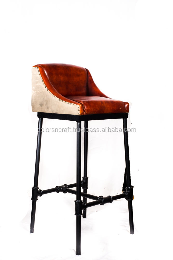 antique metal bar stool with Leather seatg