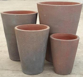 Round Taper Black Clay Pot Garden Pottery Planter Set 4