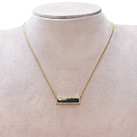 Black Onyx Gemstone Bar Connector Pendant 18K Yellow Gold Necklace