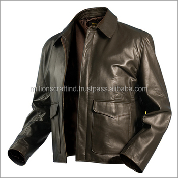 Cheap Chocolate Color Men Leather Motorcycle Jacket Young Men