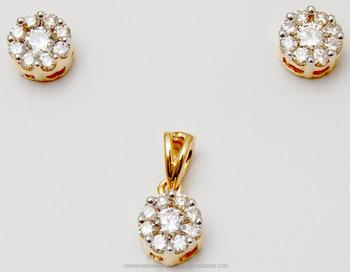 611df884b Pressure Setting Cluster Diamond Pendant Earring Set - Buy Solitaire ...